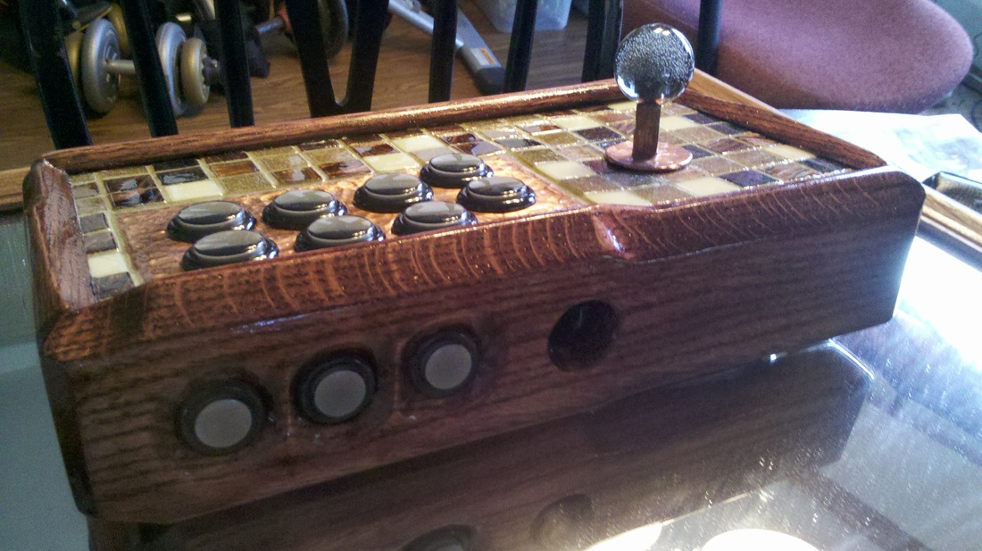 Mahogany Hammered Copper and Coral Tile Exotic Arcade Stick
